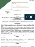 Decreto Distrital 190 de 2004 Reglamentacion POT