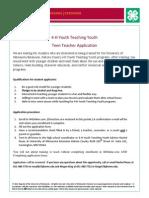 YTY Teen Teacher Application