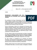 30-09-13 BOLETÍN No. 100-96 COMPARECENCIA SECRETARIO DE ECONOMÍA