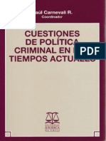 Cuestiones de Politica Criminal en Los Tiempos Actuales