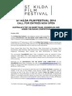 MEDIA RELEASE - St Kilda Film Festival 2014 Call for Entries