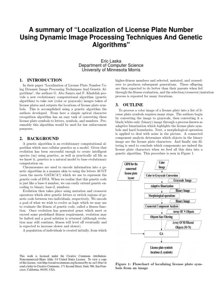 Dynamic License Plate Recognition   Genetic Algorithm   Genetics