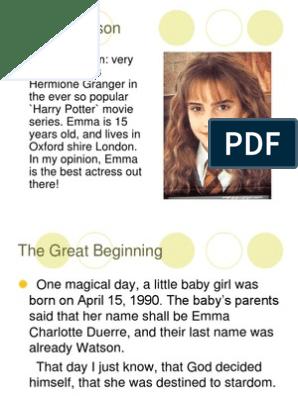 Emma Watson Biography 1 Harry Potter Leisure
