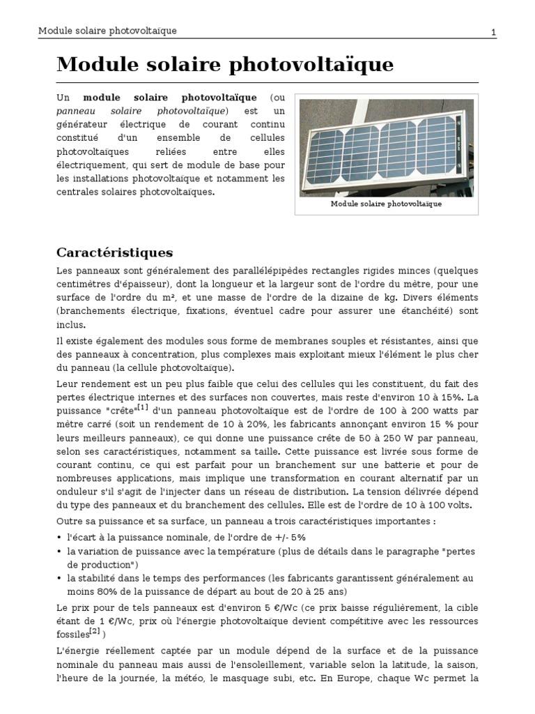 Puissance Panneau Photovoltaique à module solaire photovoltaique
