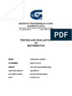 Testing and Evaluation in Mathematics