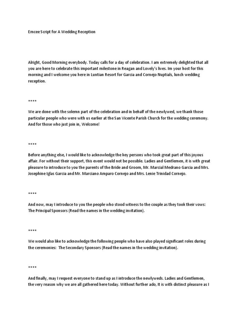Emcee Script For A Wedding Reception