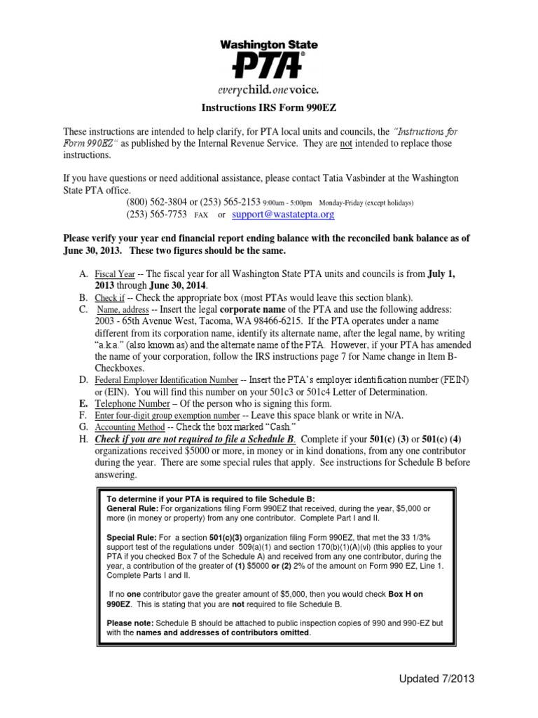 2012 Wspta 990ez Instructions 501c Organization Fundraising