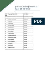Tabel Cu Grupul Care Face Deplasarea La Codlea in Data de 14