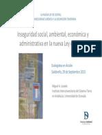 Inseguridad social, ambiental, económica y  administrativa en la nueva Ley de Costas