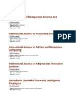 Inderscience List of Journals