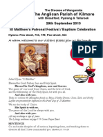 Pew Sheet 29 Sept 2013 St Matts Day