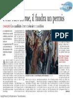 Le Soir - Pour l'Art en Rue, Il Faudra Un Permis - 01.10.13