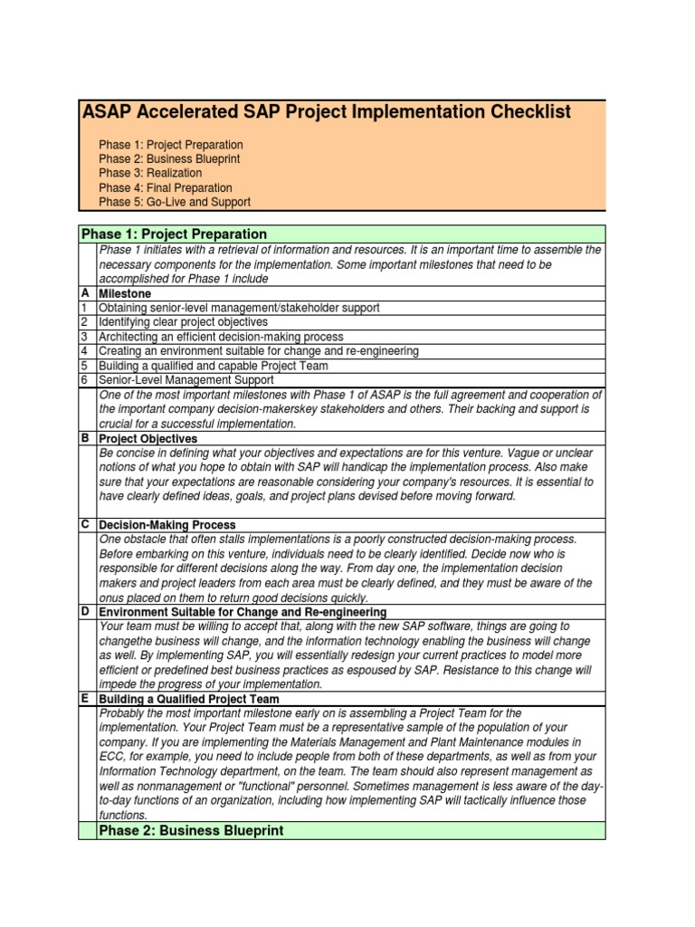Asap implementation checklist databases business process malvernweather Image collections