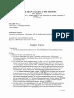 Formal Response-USC1213-004 Dakota Hall v. Student Association of UWM Senate