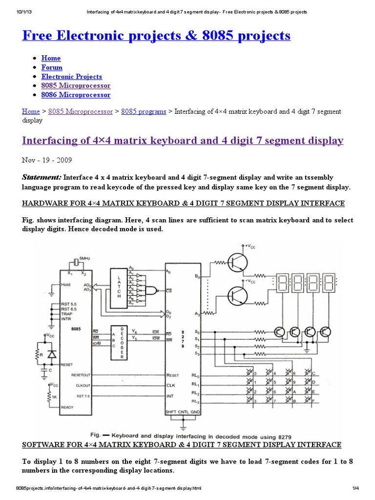 Diagram Bcd To Seven Segment Decoder Logic For 7 Best Wiring Library Interfacing Of 4x4 Matrix Keyboard And 4 Digit Display Free Electronic Projects
