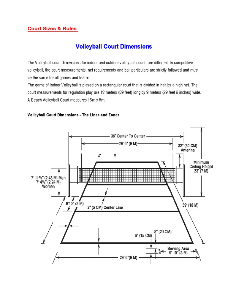 Volleyball S Court Sizes Volleyball Sports Rules And Regulations
