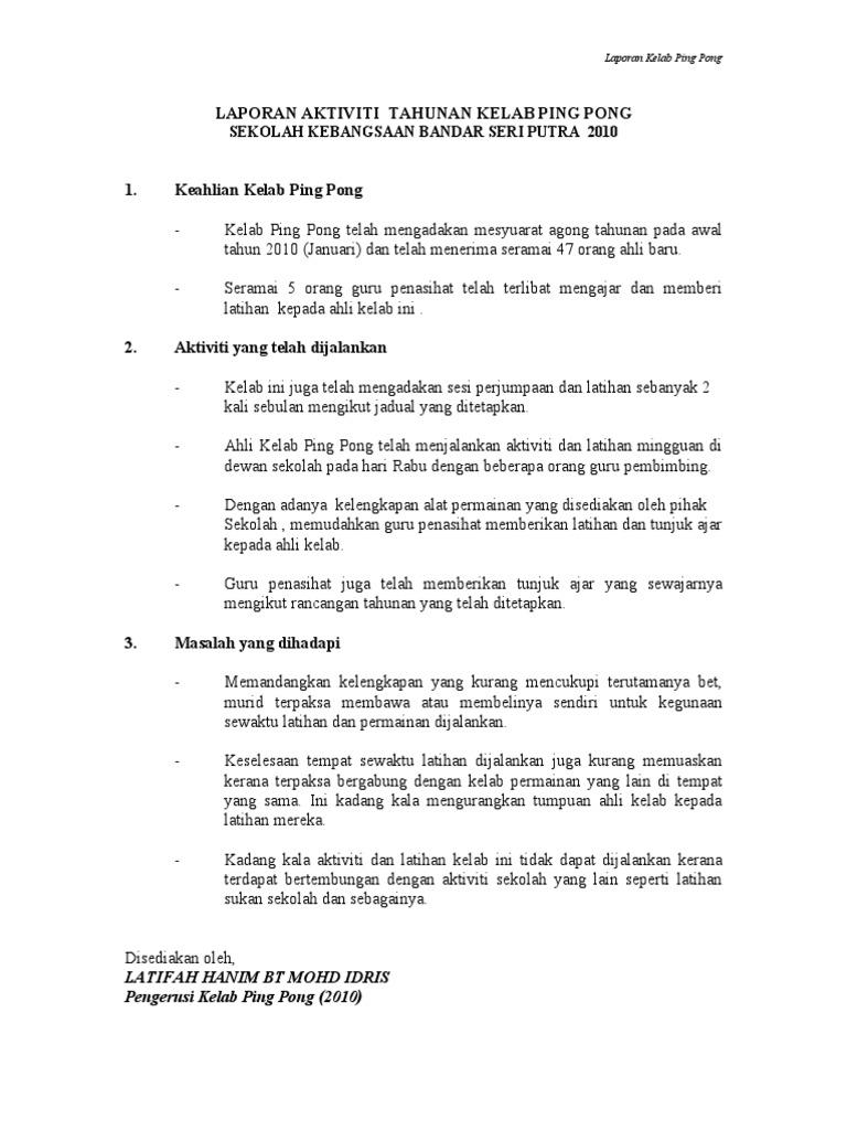 47071940 Laporan Aktiviti Tahunan Kelab Ping Pong
