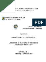 Simpozion Traditie Si Inovatie in Educatia Secolului Xxi 2013