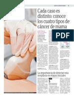 Cada caso es distinto, conoce los cuatro tipos de cáncer de mama