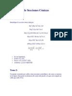 Problemas de Secciones Cónicas calculo vectorial