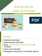 Rolul Motivatiei in Activitatea de Invatare