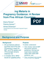 Harmonizing Malaria in Pregnancy Guidance