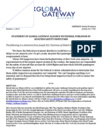 Statement of Global Gateway Alliance on Federal Furlough of Aviation Safety Inspectors
