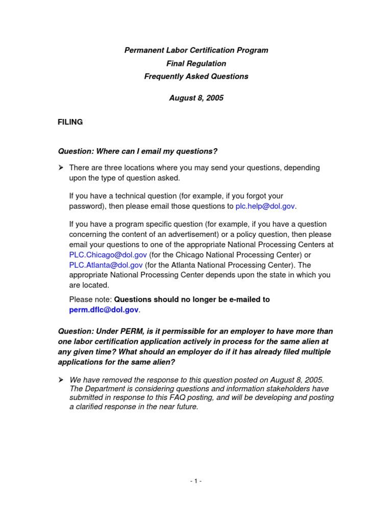 Department Of Labor Perm Faqs 8 8 05 Faq Email