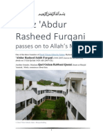 Hafiz 'Abdur Rasheed Furqani passes on to Allah's Mercy