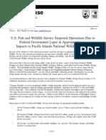 USFWS News Release 10-1-13