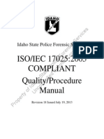 Idaho State Police Quality Proceedures Manual (Forensic Science)