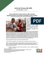 Boletín 058_ía mundial de la lucha contra la rabia_ jornada departamental de vacunación antirrábica canina y felina