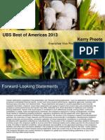 United Bank of Switzerland Presentation on Monsanto Corporation September 12th, 2013