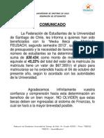 Comunicado Relativo a Medias Becas Segundo Semestre 2013