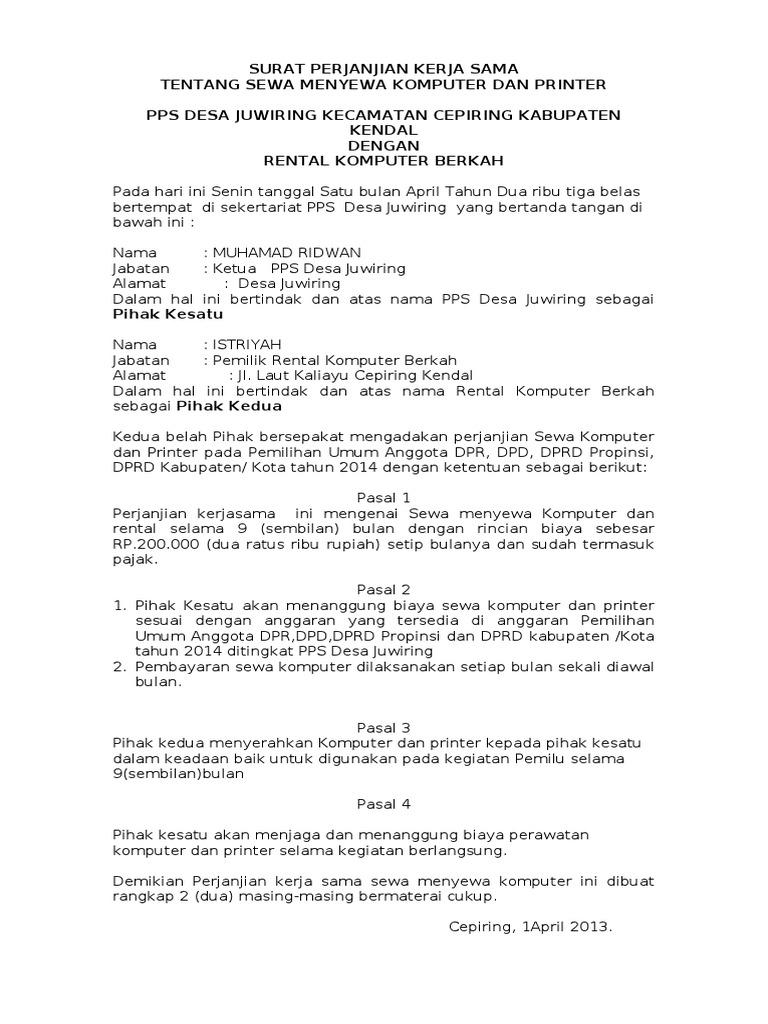 Perjanjian Sewa Komputer