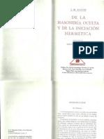 De La Masoneria Oculta - Ragon, J. M