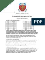 St Mark's College Club Inc. Subscription Fee 2014