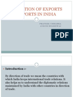 Direction of Exports Imports in India