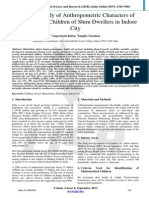 A Survey Study of Anthropometric Characters of Malnourished Children of Slum Dwellers in Indore City