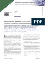 RLDC Octobre 2013_Notaire Et Testament Authentique