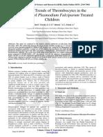Recovery Trends of Thrombocytes in the Parasitaemia of Plasmodium Falciparum Treated Children