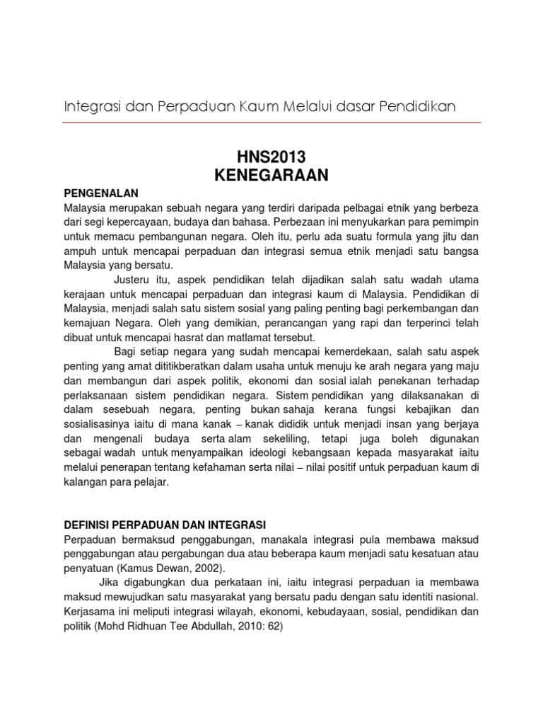 Maksud Integrasi Dan Perpaduan Menurut Kamus Dewan Bahasa Dan Pustaka