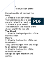 Our Heart and the Human Circulatory System (Questions)