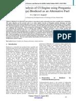 Performance Analysis of CI Engine using Pongamia Pinnata (Karanja) Biodiesel as an Alternative Fuel