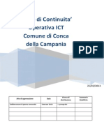 Allegato Alla Delibera Di g.c. n. 31 Del 2013 Piano Di Continuita Operativa