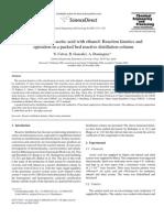 Esterificación con etanol y amberlyst columna de destilacion