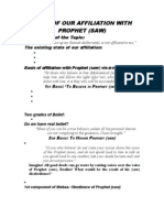 Basis of Our Affiliation With Prophet (Saw)
