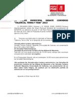 Debate Punto 3º. Convenio -Valencia, Terra y Mar- 2013