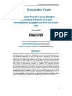 Community Forestry as an Effective Institutional Platform for Local Development