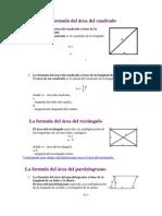 La formula del área del cuadrado